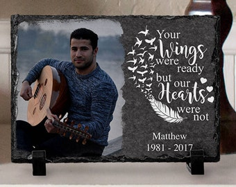 In Loving Memory, Your Wings Were Ready but Our Hearts Were Not, Memorial Plaque, Memorial Photo Slate, In Memory Of, Photo Slate, Plaque