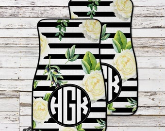 Floral Monogrammed Car Mats, Personalized Car Mat, Custom Car Accessories, Monogram Car Mat, Car Floor Mat, Monogram Car, Car Mat, Floor Mat