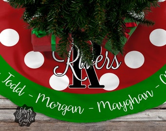 family christmas tree skirt personalized tree skirt tree skirt family name tree skirt christmas tree decor holiday custom tree skirt