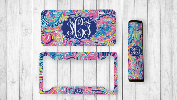 Monogrammed License Plate Lilly Inspired Seatbelt Cover   Etsy