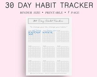 Printable Habit Tracker Printable, Binder Size 30 Day Habit Tracker, Goal Planner, Goal Tracker, Goal Journal, Binder Planner,