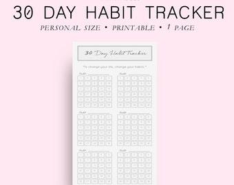 Printable Habit Tracker Printable, Personal Size 30 Day Habit Tracker, Goal Planner, Goal Tracker, Goal Journal, Planner Inserts,