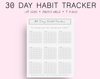 Printable Habit Tracker Printable, A5 Size 30 Day Habit Tracker, Goal Planner, Goal Tracker, Goal Journal, Planner Inserts,