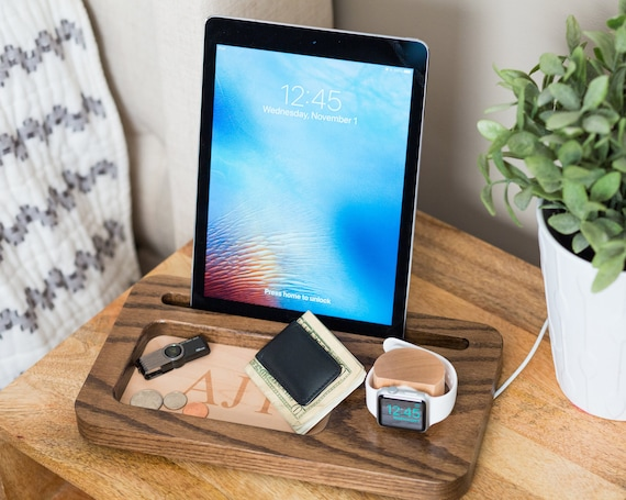 Multiple charging station, Ipad Docking Station, Apple Watch Dock, Iphone  Docking Station, Gifts For Dad, Mens Docking Station, Mens Gifts