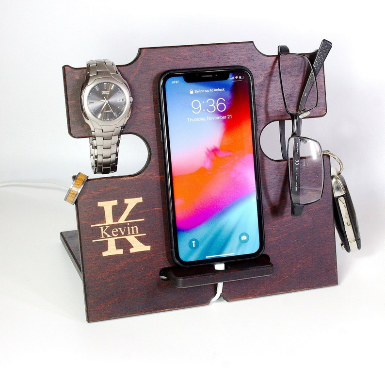 birthday gift Wooden anniversary gift coworker gift Tobacco iPhone charging dock Lightning iPhone stand men Anniversary gift