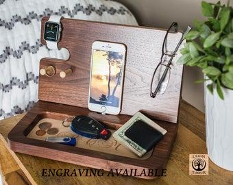 Wooden IPhone Docking station, Night Stand Wood Valet, Mens Wood Valet, Personalized Valet, Wood Docking Station, Gift for husband