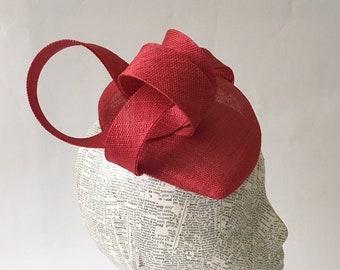 Red sinamay, pinok-pok straw,  teardrop fascinator