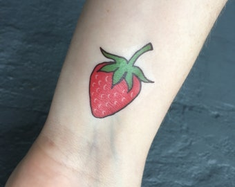 Strawberry Tattoos • 15 Strawberry Tattoos • High Quality Bright Colors • Fun Temporary Tattoos • StudioLauraLee