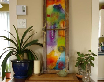 Modern abstract artwork in a vintage window frame, acrylic on plexiglass