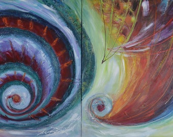 Triptych, abstract painting, acrylic on canvas, contemporary, title: 52 x 20 Vortex