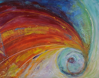 Chromatic Comet: acrylic on canvas, painting abstract, contemporary