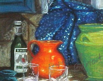 Time of Pastis table with dry pastel on canvas