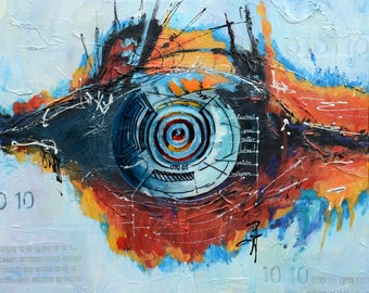 Big Brother, abstract, acrylic paint, mix technic, 24