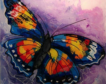 Buterfly,  modern artwork,  abstract painting, acrylic on plexiglas