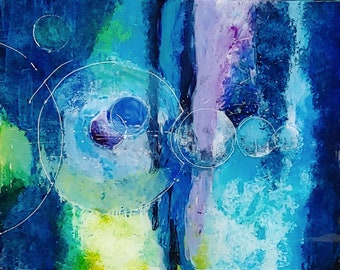 Modern artwork, abstract painting, acrylic on plexiglass, Blue, Astral