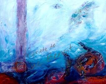 Acrylic paint, semi abstract painting, sea
