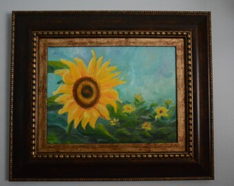 Rising Sunflowers,   oil in canevas