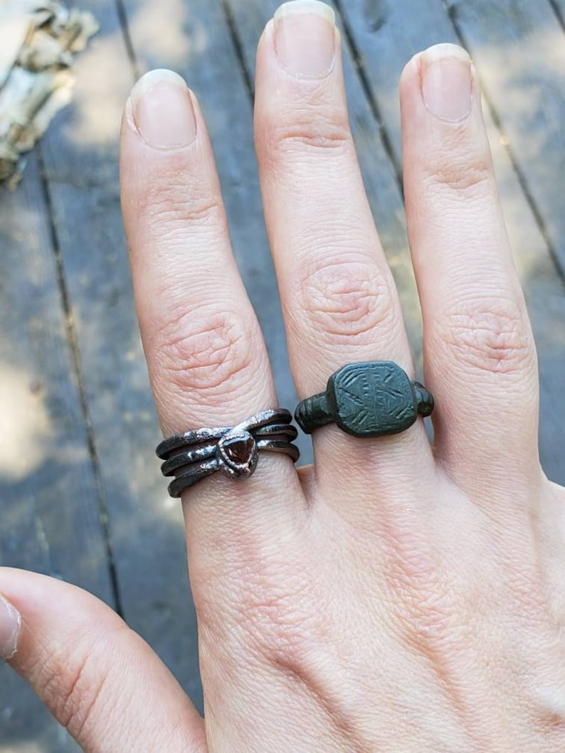 Copper Coated Garnet Ring sz 8 Gothic Jewelry Electroform Cosplay Mystic Wear Mistress of the Night