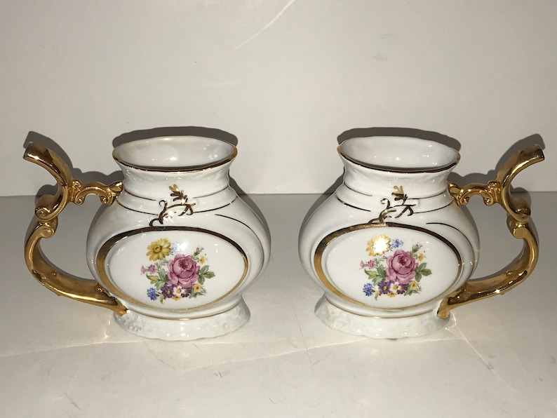 Czech Porcelain Thun Spa Sipping Cup Czech Pipe Mug Pair of Vintage Czechoslovakia Porcelain Sipping Mug China Floral Sip Cup