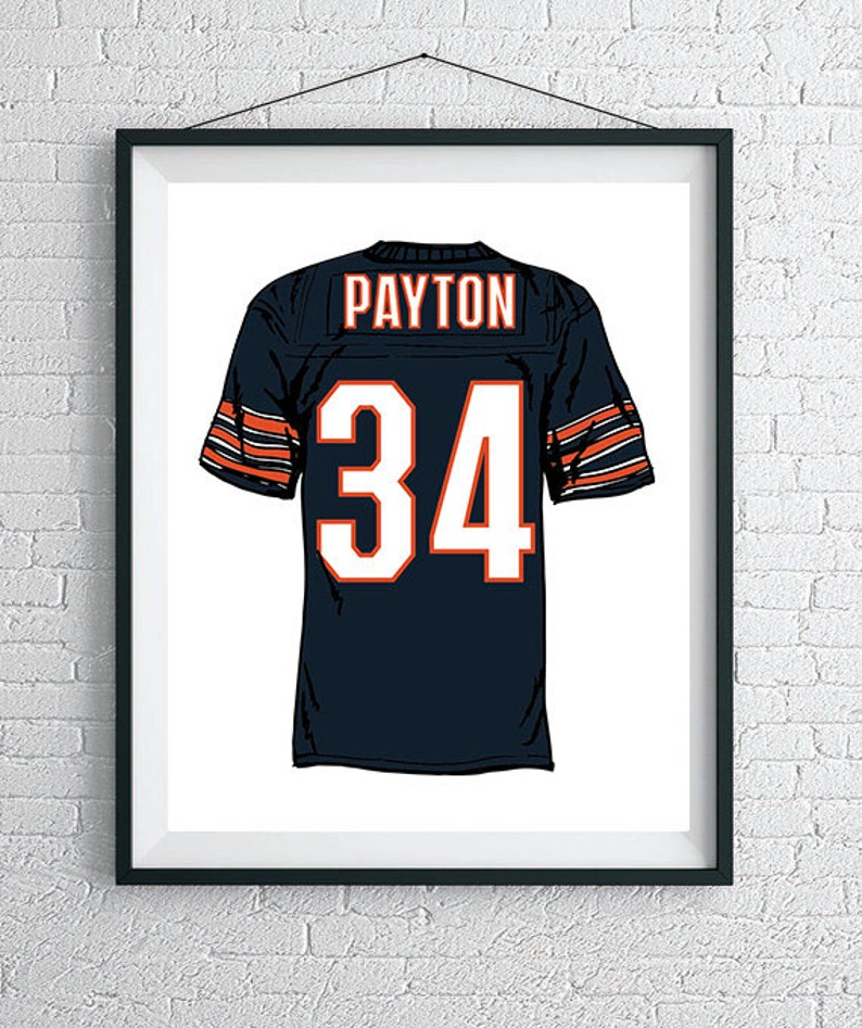 timeless design e0977 976c6 Custom Chicago Bears Jersey Wall Art / Bears Poster / Chicago Art Print