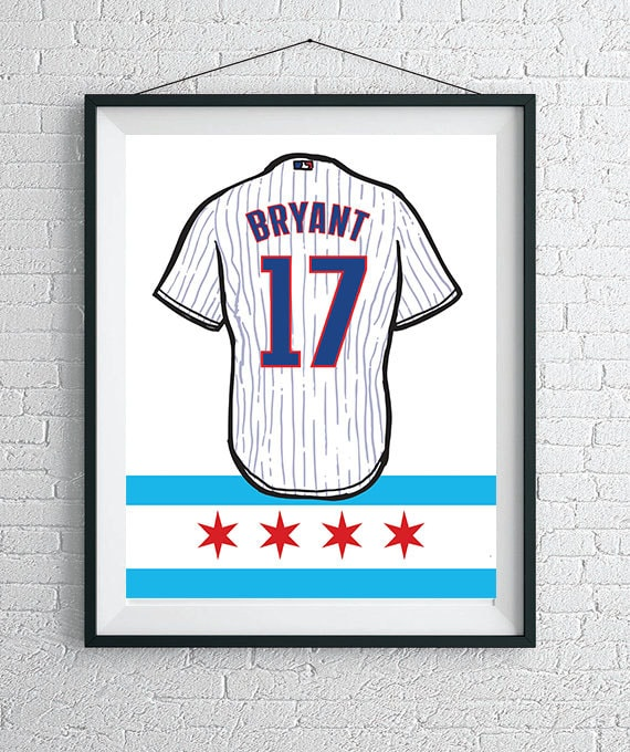 211c030e9 Custom Chicago Cubs Jersey Wall Art   Cubs Poster   Chicago