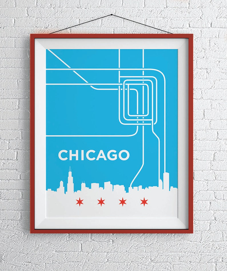 Chicago L Train Map Print Chicago Loop Wall Art Etsy