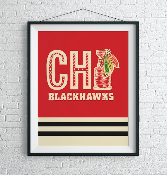 ba1301183 Throwback Chicago Blackhawks Jersey Wall Art   Vintage