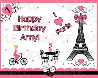 Pink And White Paris Damask Lady Poodle Eiffel Tower Edible Cake Topper Image Baking Accs. & Cake Decorating