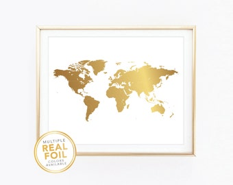 Gold foil world map etsy more colors world map gumiabroncs Choice Image