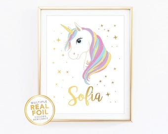 Unicorn Custom name, Nursery print, kids room, playroom, Unicorn birthday, Gold Foil, Real Foil Print, Silver, Wall Art,  baby shower gift,