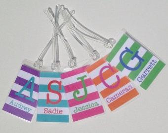 Bright Stripes Bag Tag - Custom Luggage Tag - Monogram Bag Tag - Buy 4, Get 1 Free!
