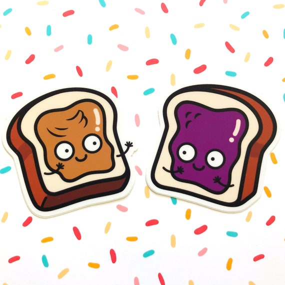 peanut butter and jelly sandwich sticker cute pb j pbj etsy peanut butter and jelly sandwich sticker cute pb j pbj food stickers die cut stickers vinyl stickers 3 x 2 97 and 3 x 2 93