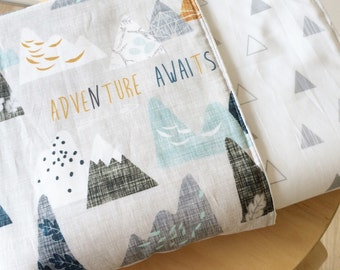 Adventure Awaits crib blanket.  Reversible cot quilt.  Modern baby bedding set.