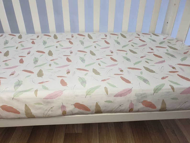 pink feathers girls baby bedding. Pastel feather fitted sheet for crib and cot Boho girls baby cot Sheet