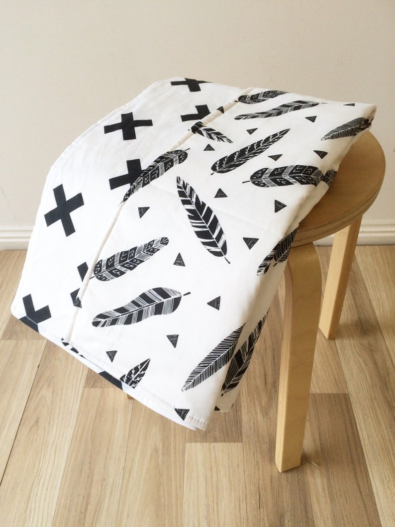 Woodland crib quilt  Cot quilt for monochrome nursery and Tribal nursery!
