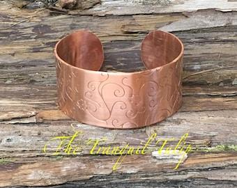 Wide Copper Cuff Bracelet - Embossed Copper Jewelry