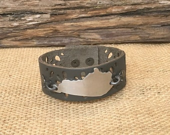 Gray Leather Cuff Bracelet - Kentucky Bracelet