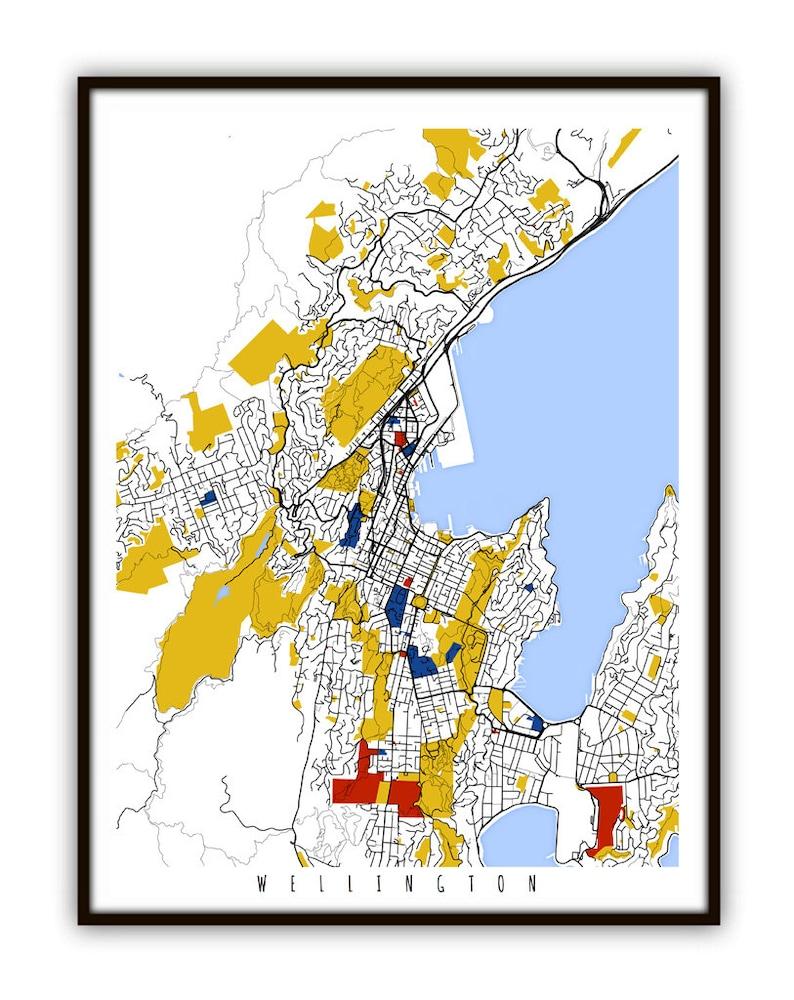 Map Wellington New Zealand.Wellington Map Art Wellington New Zealand Wall Art Print Etsy