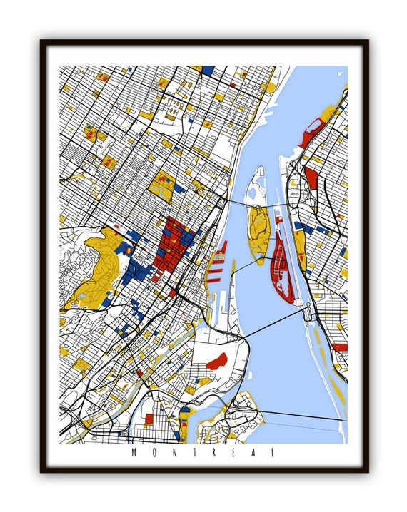Canada Map Montreal.Montreal Map Art Montreal Canada Wall Art Print Poster Etsy
