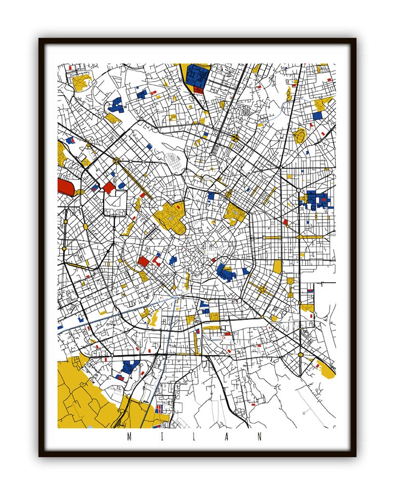 Milan Map Of Italy.Milan Map Art Milan Italy Wall Art Print Poster Modern Abstract Home Decor