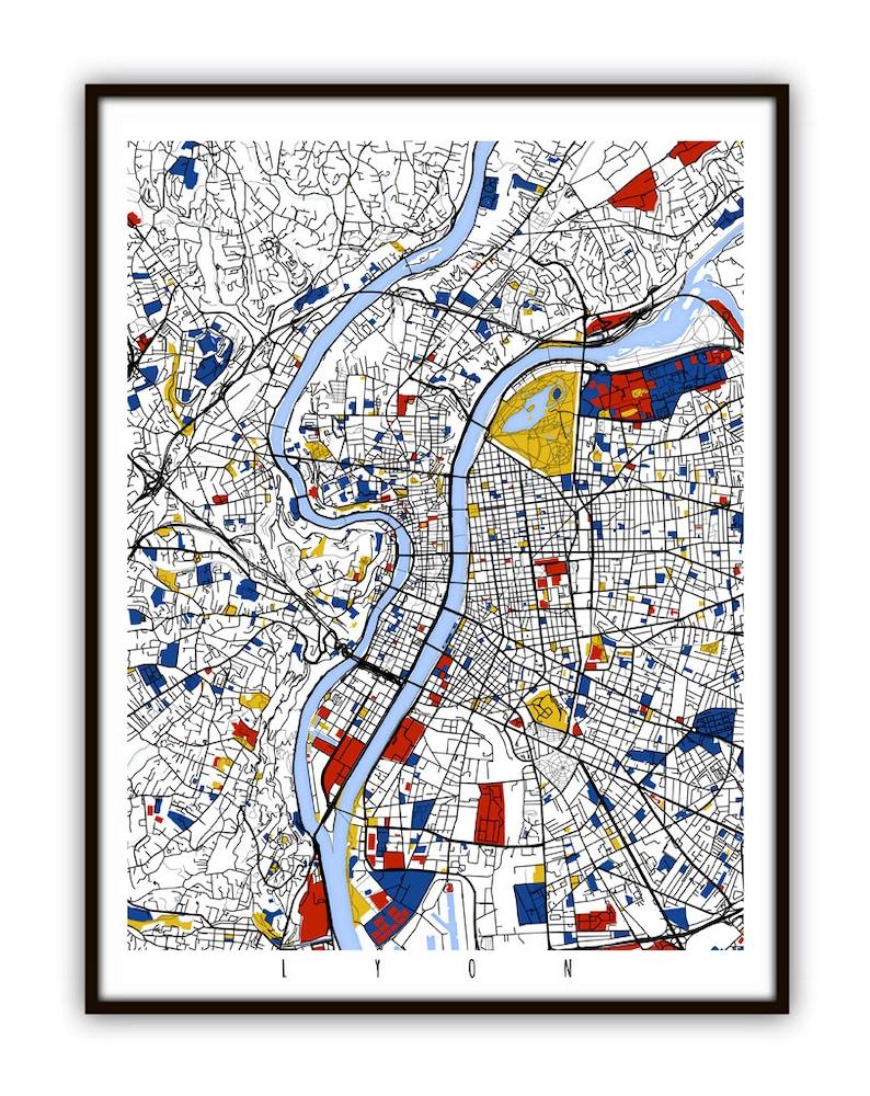 Lyon Map Art Lyon France Wall Art Print Poster Etsy