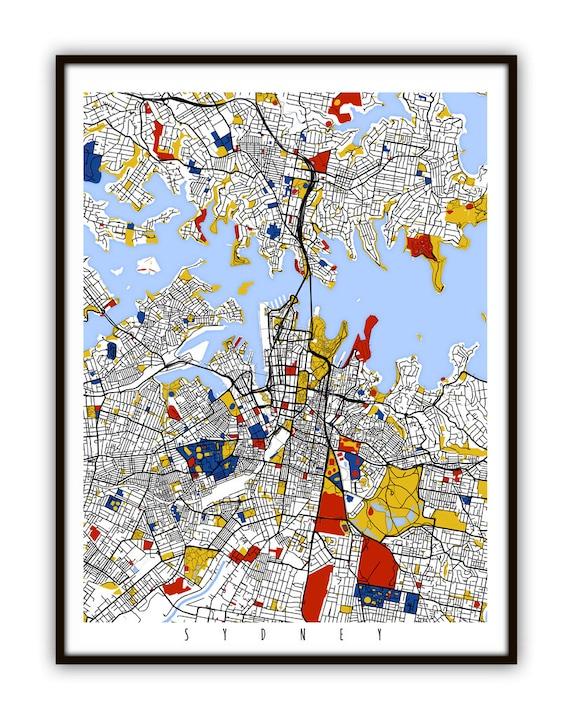Australia Map Poster.Sydney Map Art Sydney Australia Wall Art Print Poster Etsy