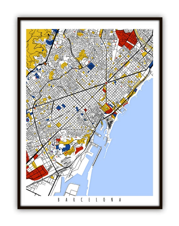 Barcelona Map Art Barcelona Spain Wall Art Print Poster Etsy