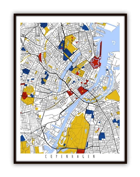 Denmark Wall Art Poster City Map Wall Decor A3 A2 A1 COPENHAGEN Map Print