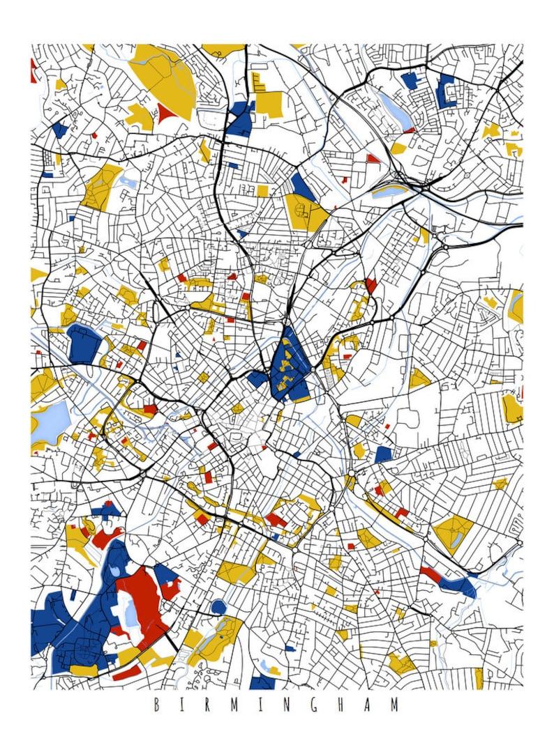 Map Of Uk Birmingham.Birmingham Map Art Birmingham Uk Wall Art Print Poster Etsy