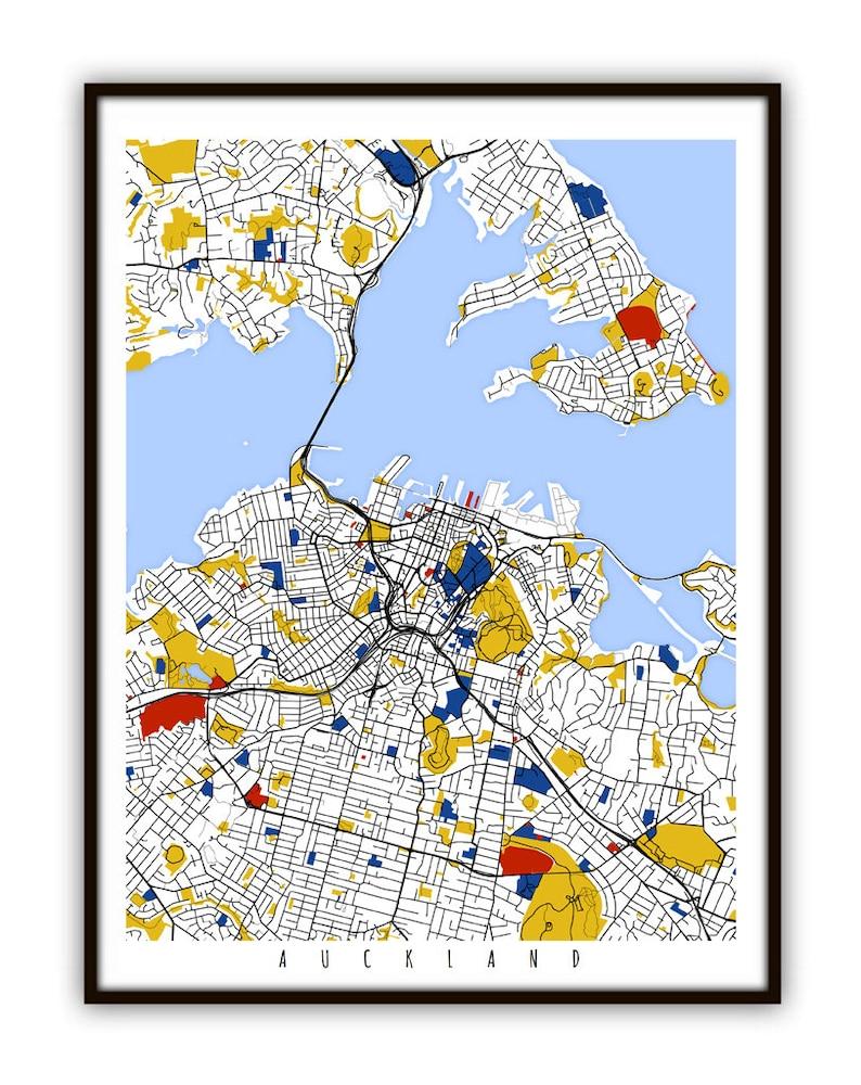 Auckland Map Art / Auckland New Zealand Wall Art / Print / | Etsy