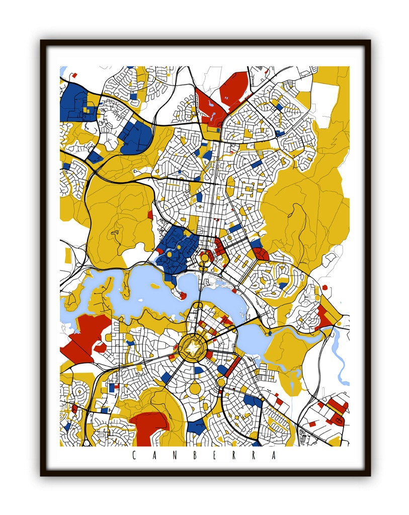 Canberra Map Art / Canberra Australia Wall Art / Print /   Etsy