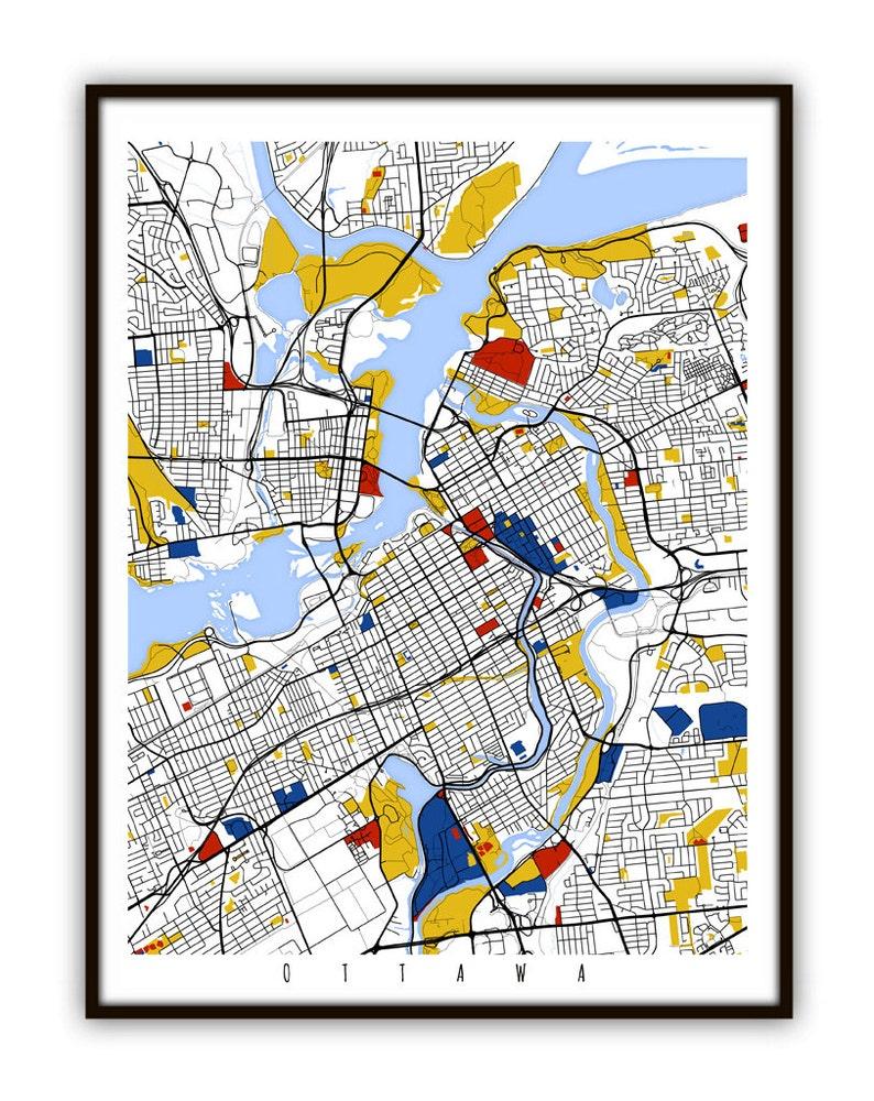 Map Of Ottawa Canada.Ottawa Map Art Ottawa Canada Wall Art Print Poster Etsy