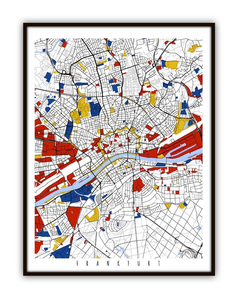 Frankfurt Map Art / Frankfurt Germany Wall Art / Print /   Etsy