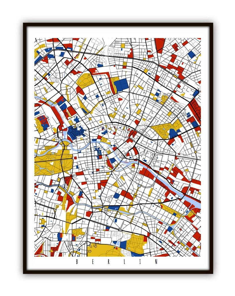 Berlin Karte Kunst / Berlin Deutschland-Wand-Kunst / Print /   Etsy